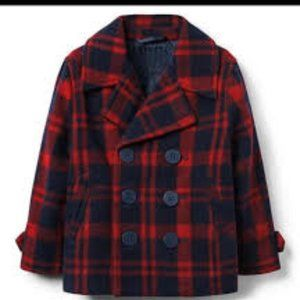 Janie and Jack Red Navy Plaid Peacoat Sz 3 - 4